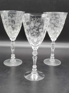 Vintage Fostoria etched stemware. Total of 6 stems.
