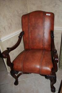 Leather Chair with Braided Accents, Scrolled Arms, and Clawed Feet