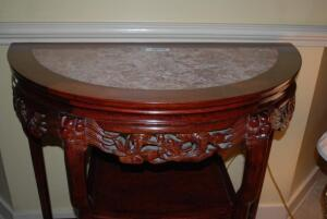 Antique rosewood and marble table with carved lines throughout
