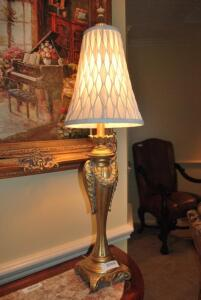 Decorative Table Lamp - gold colored base and diamond stitched cream shade