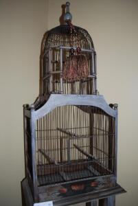 Birdcage and Wooden Stand - slightly distressed