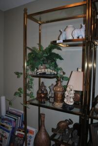 Glass and Brass Shelves by Jeffco Etageres