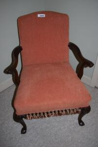 Antique ladies occasional chair with fringed bottom