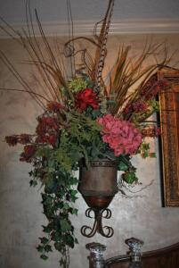Metal Wall Urn with Floral Arrangement