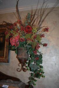 Wall Urn with Floral Arrangement