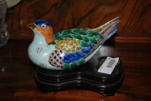 Decorative Porcelain Painted Bird with Stand