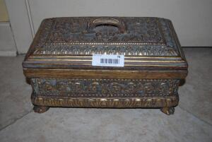 Heavy, Antique, All - Wooden Ornate Gold Box