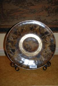 Decorative ornate plate with stand - plate has faux finish with brass colored cording