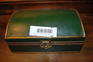 Green and gold desk box with clasp - cushion lined