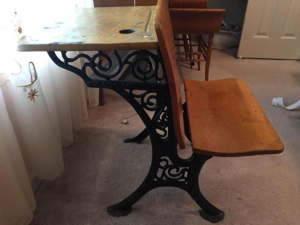 Excellent Antique School Desk With Wrought Iron Legs Download Free Architecture Designs Xoliawazosbritishbridgeorg