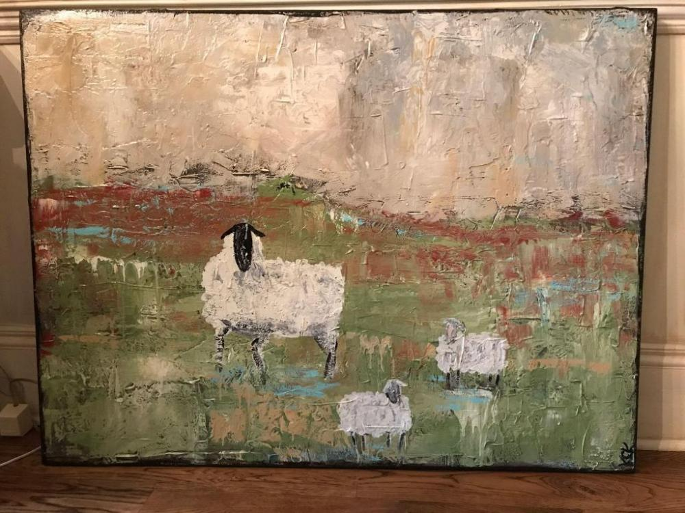 Oil On Canvas Painting Of Sheep From Chestnut Hall