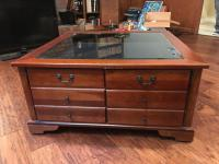 Nice Coffee Table with Top Display Under Glass and Storage Underneath