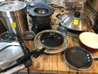 Grouping of cooking pans, panini maker, crock pot and wok