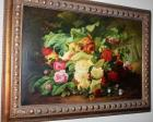 "Very Pretty Flower Oil Painting with Gorgeous Wood Frame - 43"" wide, 30"" tall"