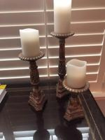 Set of three wood candle holders