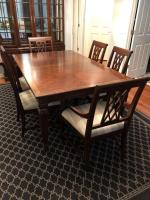 Harden dining table with 4 side chairs, two arm chairs and two leaves