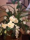 Decorative flower arrangement with white flowers