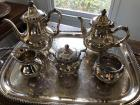 Stering silver tea service with silver plated tray Strasbourg Gorham