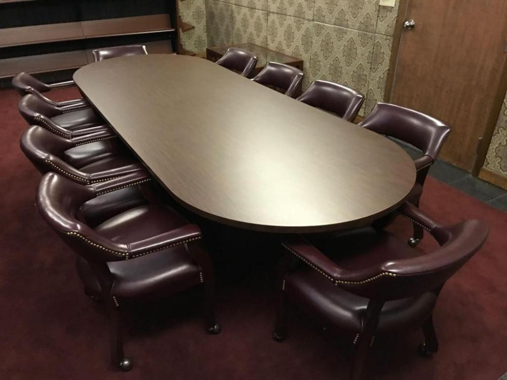 Large Wooden Conference Table With Cushioned Armchairs - Large wooden conference table