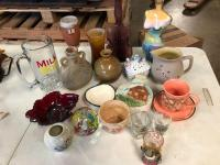 Hodge Podge Glass, pottery lot. Some old some just cute, something for everyone