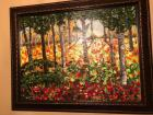 Large framed oil painting of vibrant fall colors