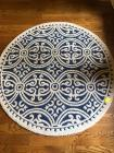 Small Round area rug in colors of blue and white