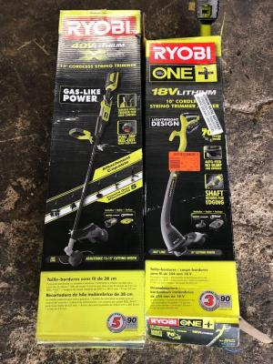 2 Ryobi Lithium Powered Weed Whackers