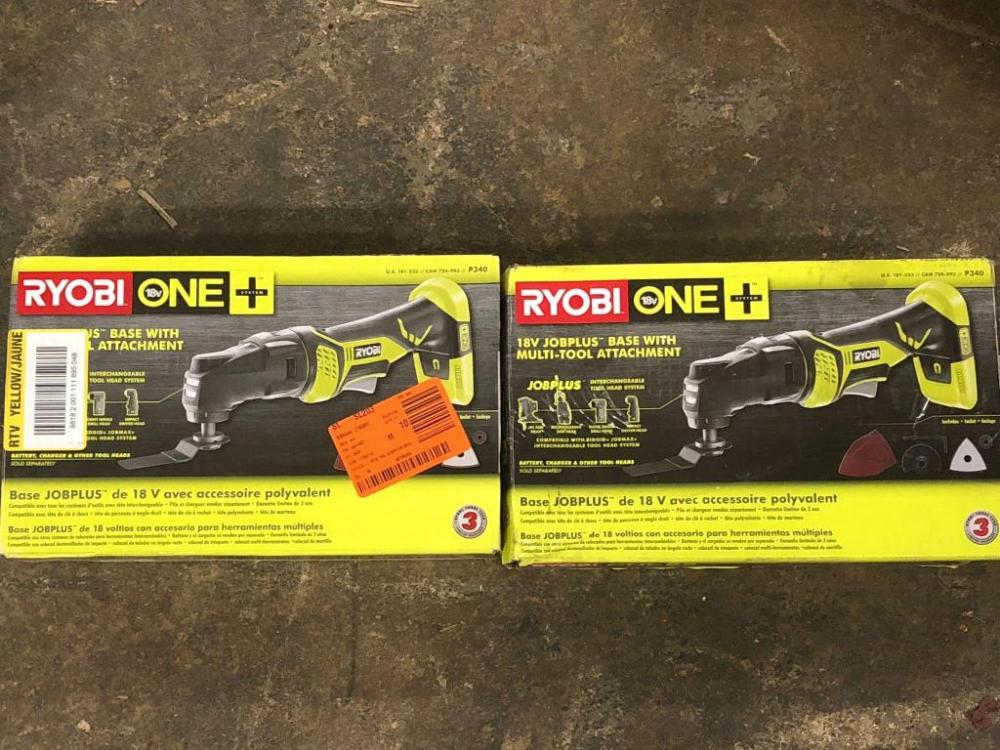 2 Ryobi 18 Volt Job+ Bases with Multiple Attachments