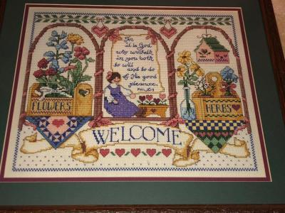 Framed Crosstitch welcome picture