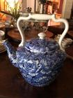 Large blue and white tea pot