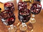 5 Bohemian Glass red wine glasses