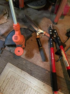 Black and Decker edger, Fiskars clippers, Corona cutters