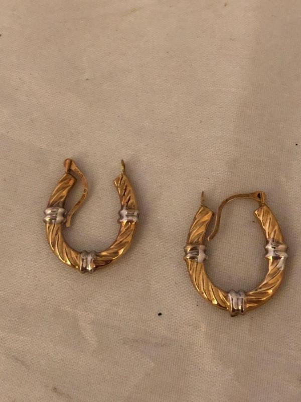 Pair Of 10 Karat Gold Small Hoop Earrings