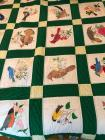 Handmade states bird and flower quilt with two pillows