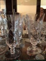 4 Crystal ice tea glasses, 1 wine glass and 9 sherbet