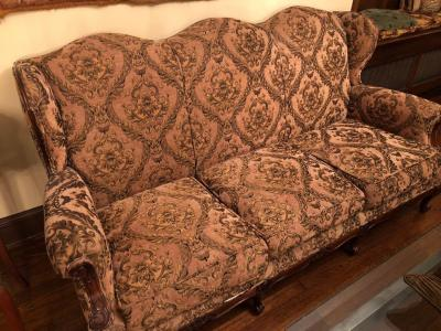 High back, wing back, Country French settee, Walnut, Circa 1910