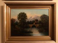 Antique Continental oil on canvas of windmill on bridge with mountain in background