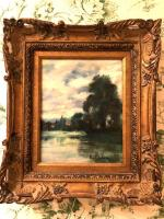 Small oil on canvas landscape, signed in lower right by K. Johnson