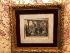 "Antique Engraving framed with velvet matting Titled ""Pope Julius II and his contemporaries viewing the statue of Apollo"", signed and dated, lower left"