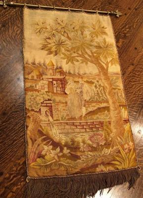 Antique country French Needlepoint Tapestry with gold fringe on custom iron rod