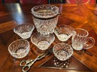 Leaded crystal ice bucket, five small bowls and very small creamer