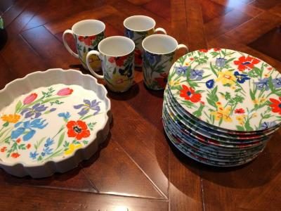 Fitz and Floyd dessert plates and coffee mugs and Primavera ovenware dish