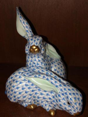 Pair of Herend bunnies in blue fishnet
