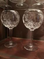 Pair of Waterford crystal balloon wine glasses