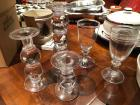 Set of 3 Simon Pearce glass candle holders and two glasses