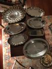 Silver plate serving trays. (7)