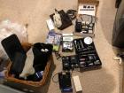 Foreign travel items, adapters, 2 travel irons, toiletry items, binocular