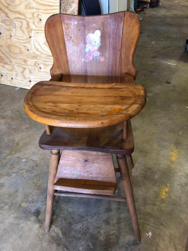 Vintage Wooden High Chair Excellent Condition 38 5 Tall